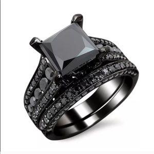 Black Gray Engagement Ring Wedding Band Bridal Set